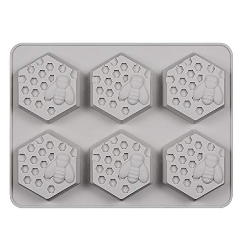 SJ 6 Cavities 3D Bee Honeycomb Soap Molds - Hexagon Silicone Molds for Honeycomb Cake Wedding Party Decorating, Gray