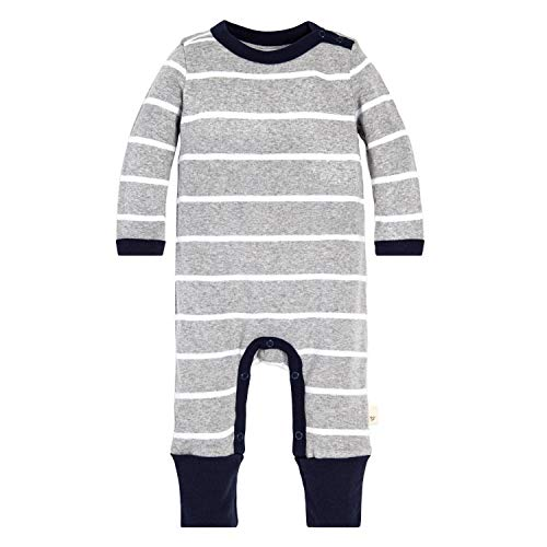 Burt's Bees Baby Baby Boys Romper Jumpsuit, 100% Organic Cotton One-Piece Coverall, Grey Variegated Stripe, 6-9 Months