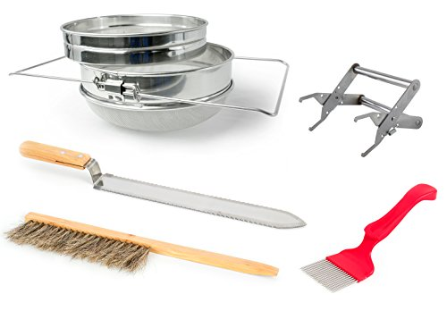 VIVO Honey Harvesting Beekeeping Starter Tool Kit | Set of 5 - Double Sieve Honey Strainer, Frame Holder, Brush, Uncapping Knife, Uncapping Fork (BEE-KIT4)
