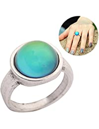 Basic Classic Antique Sterling Silver Plated Ring Round Stone Color Change Mood Rings MJ-RS036