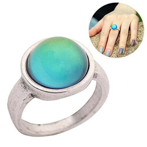 Basic Classic Design Antique Sterling Silver Plated Ring Round Stone Color Change Mood Rings MJ-RS036 (7) (Stone Ring Silver Sterling Color)