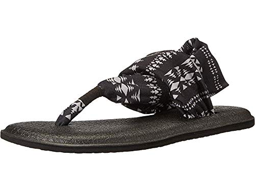 Sanuk Women's Yoga Sling 2 Print Vintage Flip Flop, Black/Natural KOA Tribal, 9