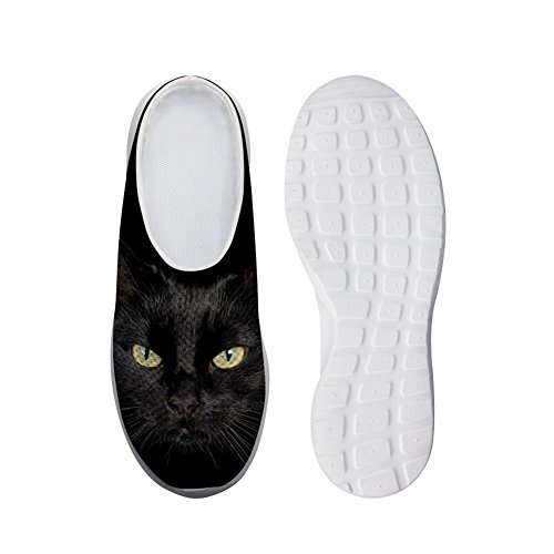 Bigcardesigns Chat Slip-ons Chaussures Pantoufles Respirantes Chat Noir
