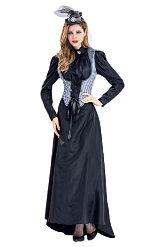 coser park Halloween Killer Costume Axe Murderer Dress Vintage Gothic Lace up -
