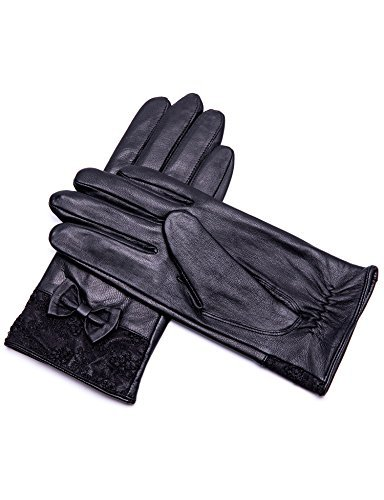 YISEVEN Women's Touchscreen Lambskin Leather Gloves Lace Bow Cuff Stylish Elegant Luxury Warm Heated Lined Ladies Accessories Winter Dress Driving Work Cell Phone Xmas Gifts, Black 7.0''/Medium