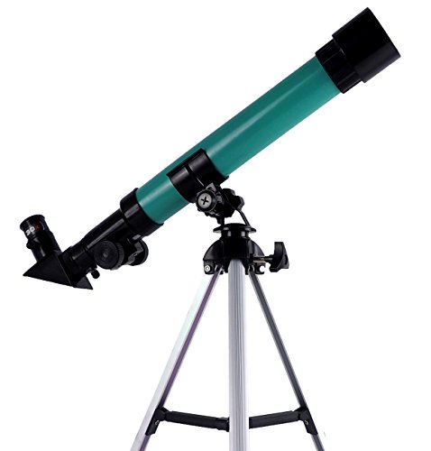 Ping Yan Telescope for children, metal tripod - beginner telescope, portable lens telescope, science toy monocular telescope - green by Ping Yan