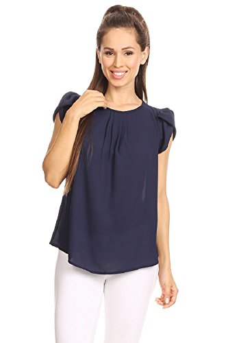 (April Women's Basic Casual Simple Short Sleeve Blouse TOP (3X,)