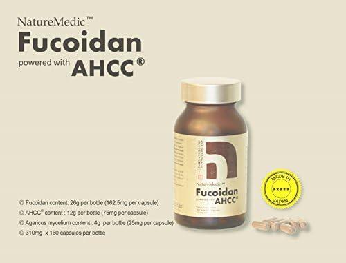 NatureMedic Fucoidan AHCC Brown Seaweed Immunity Supplement with Organic Mekabu Mozuku Agaricus 11 Bottles/Pack 1,760 Vegetable Capsules Made in Japan