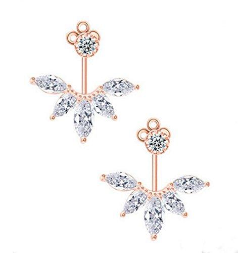 Odette Rose Gold Plated Clear Crystal Leaf Feather Ear Jacket Earrings Back Ear Cuffs Stud Earring (Rose Gold)