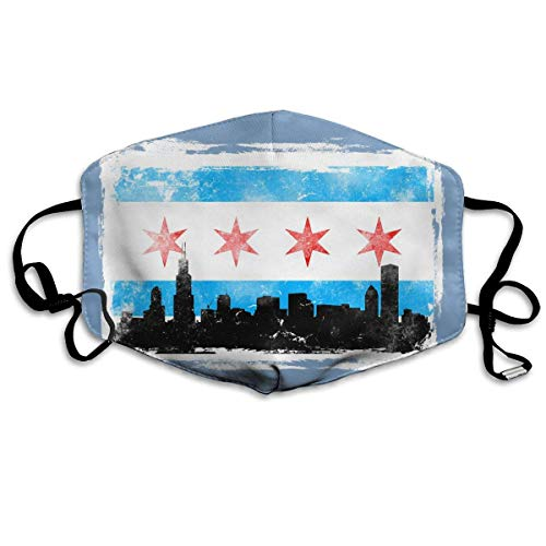Chicago Flag W White BG Distressed Printed Mouth Masks Unisex Anti-dust Masks Reusable Face Mask for $<!--$10.59-->