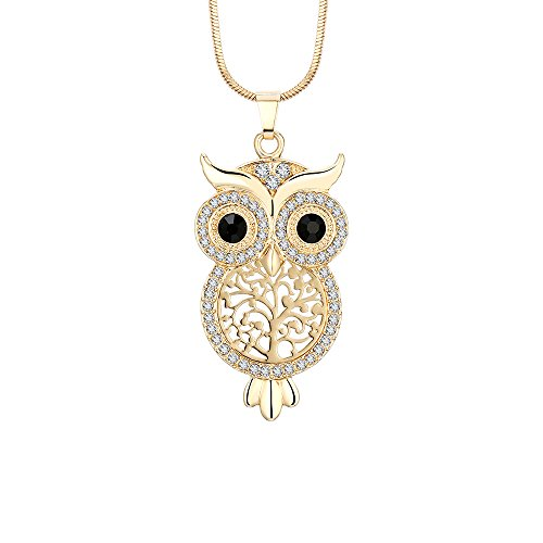 PJ Cute Owl Crystal Pendant Necklace for Women Girls - 1.57