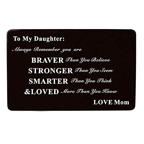Laser Engraved Aluminum Metal Wallet Card Love Note Insert Card Gift for Daughter Birthday Gift from Mom Mother by Kisseason