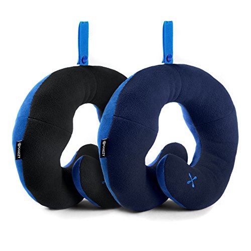 BCOZZY Chin Supporting Travel Neck Pillow - Supports the Head, Neck and Chin in Maximum Comfort in Any Sitting Position. A Patented Product. Set of 2 SALE- Adult Size, BLACK+NAVY