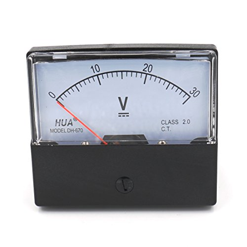 Baomain Voltmeter DH-670 DC 0-30V Rectangular Class 2.5 Analog Panel Volt Voltage Meter