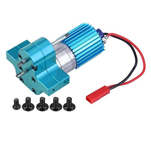 Aoile Speed Change Gear Box Metal Gearbox with 370 Brush Motor Anodizing Treatment for Heatsink Mount Base for WPL 1633 RC Car Blue (370 Motor Brush)