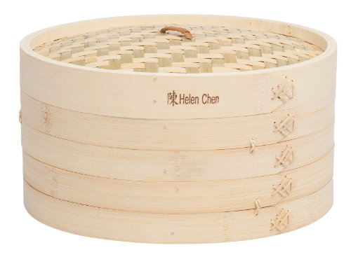 Dim Sum Bamboo Steamers - Helen Chen's Asian Kitchen Bamboo Steamer, 12-Inch