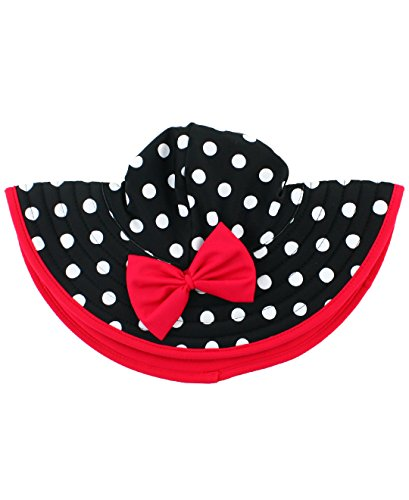 (RuffleButts Baby/Toddler Girls Black and White Polka Dot Swim Hat w/Red Bow - 0-12m)