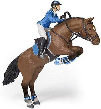 Papo 51560 - Figura de Caballo Saltando con Chica de equitación (Foals and Ponies), Multicolor