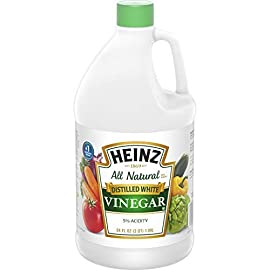 Heinz White Vinegar (64 oz Jug) 105 Collected through selective boiling and condensation from a fermented mixture of American-grown corn and clear water Just the right amount of acidic (5%) for canning and pickling Easy to handle, reclosable jug to avoid spillage