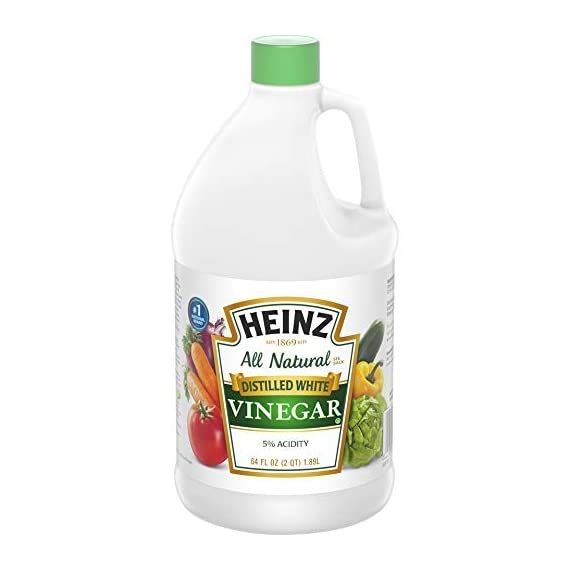 Heinz White Vinegar (64 oz Jug) 1 Collected through selective boiling and condensation from a fermented mixture of American-grown corn and clear water Just the right amount of acidic (5%) for canning and pickling Easy to handle, reclosable jug to avoid spillage