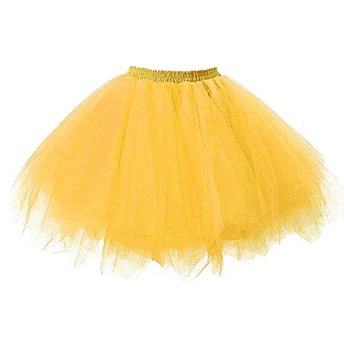Girls Kids Baby Solid Elastic Band Tulle Tutu Skirt Ballet Dance Fancy Costume(Yellow,Free Size)]()