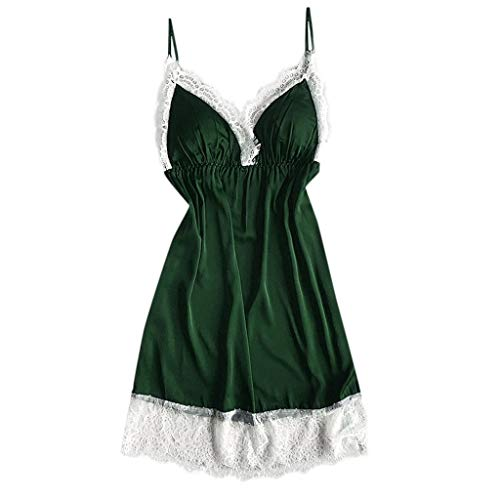 Women's Halter Plus Size Lace Lingerie Keyhole Mesh Stretch Babydoll Chemise with Garters Green]()