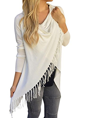 OVERMAL Women Long Sleeve Tassel Slash Blouse Tops Cardian Shirt (Asia XL=US10=UK14=EU40, White) - Long Sleeve Bamboo Kimono