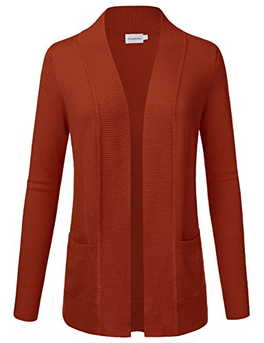 JJ Perfection Women's Open Front Knit Long Sleeve Pockets Sweater Cardigan Rust 1XL