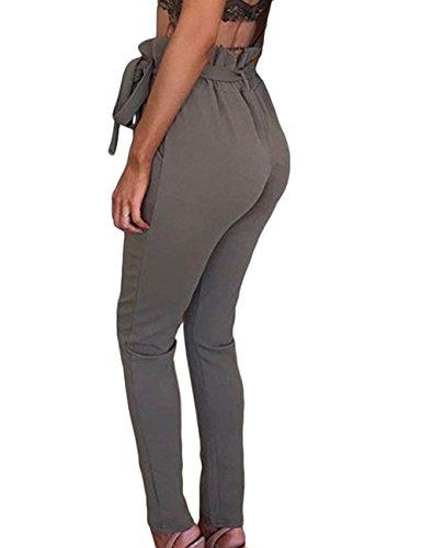 Plissée Poches Avec Pantalon La Confortable Grau Taille Printemps Pour Mode Moderne Décontractée Femmes Style Haute Ceinture À été Long Et qqn80Orv