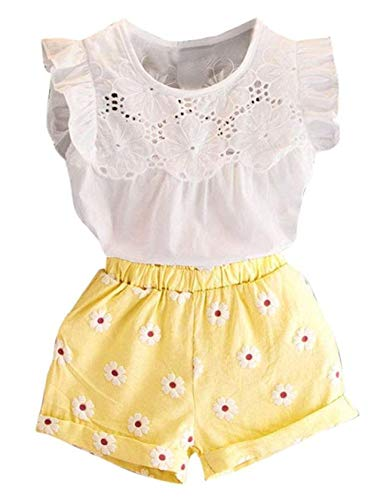 Toddler Girl Outfits 2Pcs Ruffle T-Shirt Vest Tops and Shorts Pants Clothes Sets(2T) ()