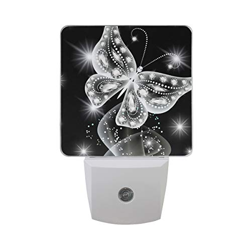 Night Light Diamond Butterfly White Led Light Lamp for Hallway, Kitchen, Bathroom, Bedroom, Stairs, DaylightWhite, Bedroom, Compact