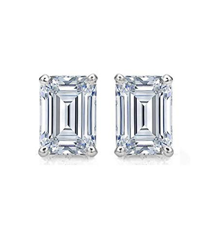(2.20 CT Emerald Cut Simulated Diamond Solitaire Stud Earrings in 14k White Gold Screw)
