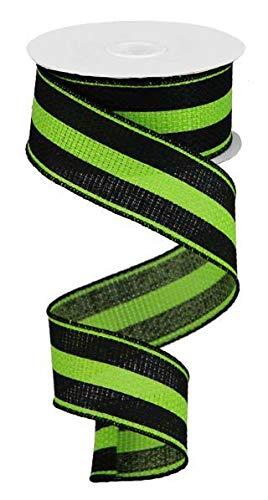 Vertical Stripe Wired Edge Ribbon - 10 Yards (Lime Green, Black, 1.5