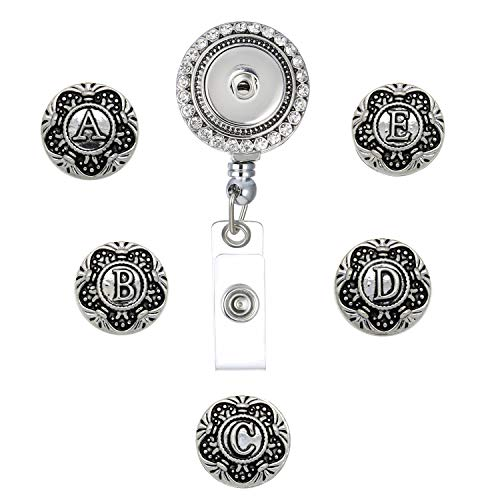 Rhodium Letter - Legenstar Office Lanyard ID Badges Holder Retractable Necklace with 5pcs Snap Buttons