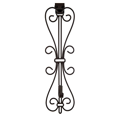 Reef Hanger - [Front Door WREATH HANGER] - Elegant Design | ADJUSTABLE Hook Length for Tall and Small Doors | PADDING to Prevent Damage like Scratch and Dents | Heavy Duty Cast Iron Metal Hangar (Brown)