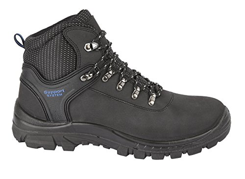 Hiker Style Safety Boot - Himalayan 2601 S1P SRC Black Leather Steel Toe Cap Hiker Style Safety Boots PPE (US 9)