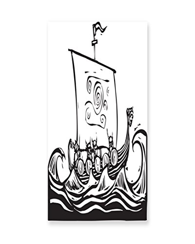 Lunarable Viking Wall Art, Sketch Style Barbarian Long Boat Embarking on a Quest to Explore the World Wavy Sea, Gloss Aluminium Modern Metal Artwork for Wall Decor, 11.6 W X (Female Barbarian Costume Ideas)