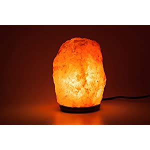 HemingWeigh Natural Himalayan Rock Salt Lamp 19-25 lbs with Wood Base, Electric Wire & Bulb