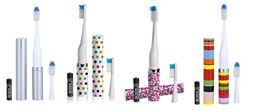 Violife Slim Portable + Sonic Toothbrush Set, Designs As Pictured, 4 count, (Silver, Confetti, Mosaic, Candy Stripe For Sale