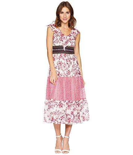 - Taylor Women's Ruffle Neck Mixed Print Chiffon Dress Fuchsia/Ivory 4
