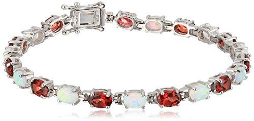 Sterling Silver Oval Cut Tennis Bracelet in Created Opal and Garnet Tennis Bracelet