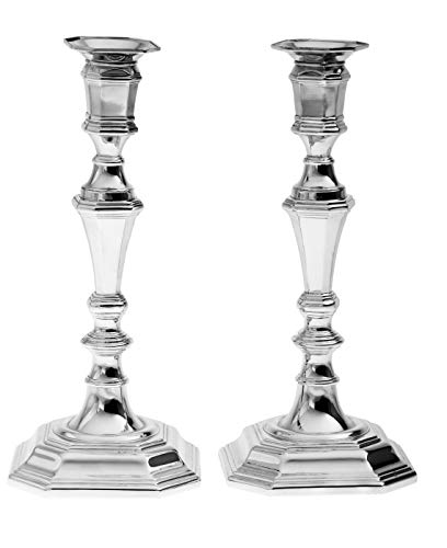 Legacy Judaica Silver Plated Candle Sticks - Great Gift idea for Housewarming, Anniversary, Birthday, Holidays- Add Elegance to Your Table
