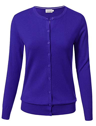 (Women Button Down Long Sleeve Crewneck Soft Knit Cardigan Sweater M Royalblue)