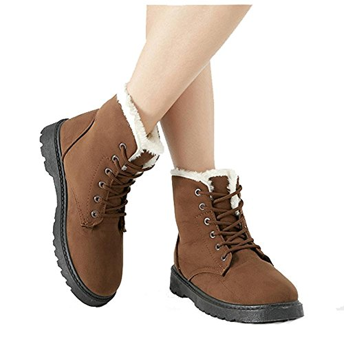short più piana martin scarpe brown peluche casual donne pelle boots calzature cotone scarpe in calda in scamosciata heel pRxn5qzx8