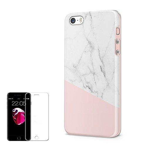 Obbii Cute Case for iPhone 5/5S/SE Baby Pink White Marble Matte Shockproof Slim TPU Flexible Soft Silicone Protective Durable Cover Case with Clear Screen Protector Compatible with iPhone 5/5S/SE