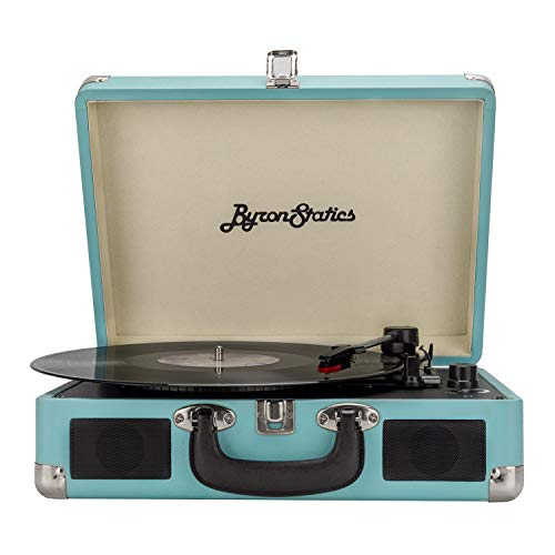 Byron Statics Turntable Record Player Speaker Portable Vinyl Player 3 Speed Dust Free Suitcase Autostop RCA Output AUX Input Headphone Jack Belt-Driven Extra Stylus Free Audio Cable 9W Teal
