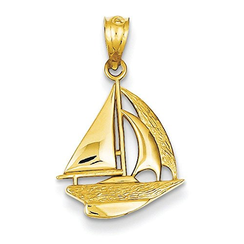 JewelryWeb Solid 14k Gold Polished Sailboat Pendant (14mm x 22mm) ()