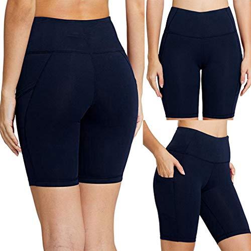 YOMXL Active Bike Running Yoga Shorts Side/Hidden Pocket Gym Workout Short Pant Leggings High Waist For Women