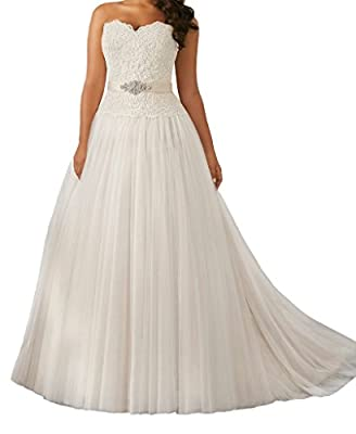 Cecelia's Veil Women's Sweetheart Lace Ruched A-line Court Train Wedding Dress