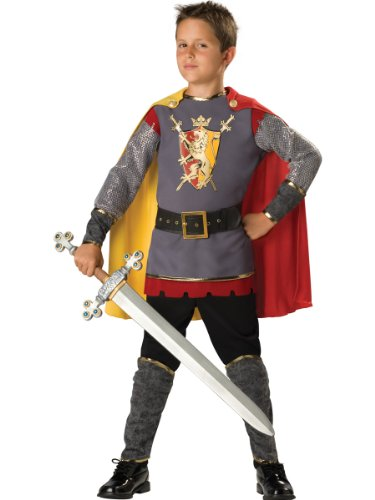(InCharacter Costumes, LLC Boys 8-20 Loyal Knight Tunic Set, Silver/Burgundy,)